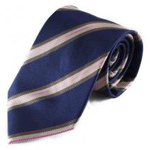 Tmavě modrá hedvábná kravata s barevným pruhem (béžová, bílá, růžová)