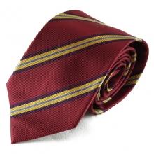 Červeno pruhovaná hedvábná kravata (pružek - žlutá)