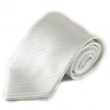 Bílá mikrovláknová kravata s lehkými pruhy