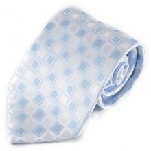 Bílá mikrovláknová kravata se světlým vzorkem (modrá)