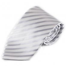 Pruhovaná mikrovláknová kravata - bílá a stříbrná