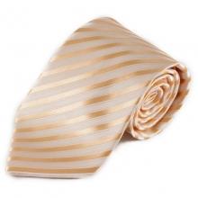 Světlá pruhovaná mikrovláknová kravata - béžová a oranžová