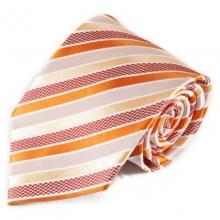 Oranžová pruhovaná mikrovláknová kravata