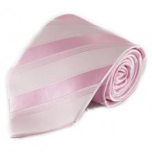 Světle růžová pruhovaná mikrovláknová kravata