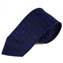 Tmavá hedvábná kravata s modrým vzorem biohazard