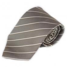 Hnědá hedvábná kravata s proužkem (bílá a hnědá)