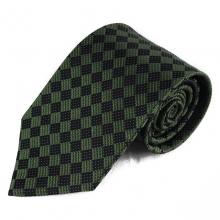 Hedvábná kravata s kostičkovým vzorkem (černá, tmavě zelená)