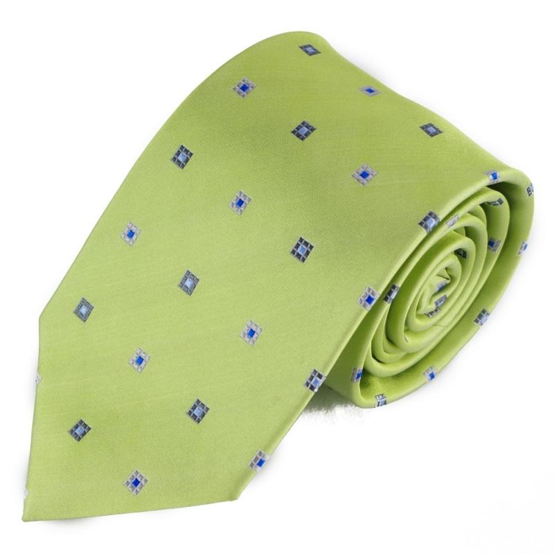 851fdd33958 Světle zelená hedvábná kravata s čtverci + soutěž