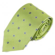Světle zelená hedvábná kravata s čtverci