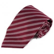 Vínová (červená) hedvábná kravata s proužky (kostičky - bílá)