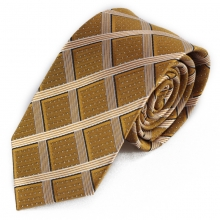 Žlutá hedvábná kravata s károvaným vzorkem