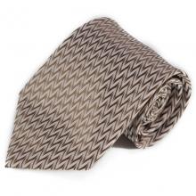 Béžová kravata se cik-cak vzorkem (hnědá)