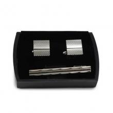 Manžetové knoflíčky a kravatová spona ocelové (sada)