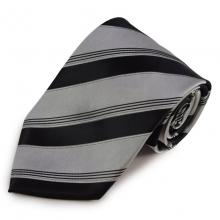 Šedá mikrovláknová kravata s černými pruhy