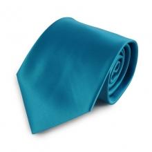 Tyrkysová jednobarevná mikrovláknová kravata
