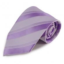 Fialová (šeříková) proužkovaná mikrovláknová kravata