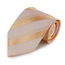 Světle oranžová proužkovaná mikrovláknová kravata