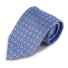 Modrá mikrovláknová kravata s drobným károvaným vzorem