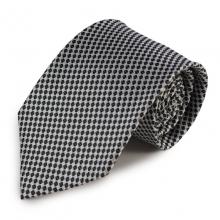 Černo-bílá mikrovláknová kravata s drobným vzorem