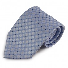 Světle modrá mikrovláknová kravata s drobným károvaným vzorem