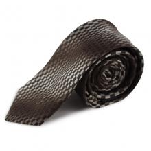 Hnědá úzká hedvábná kravata se zajímavým vzorem