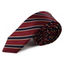 Červená (bordó) úzká proužkovaná hedvábná kravata