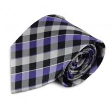 Hedvábná kravata s károvaným vzorem (fialová, černá, bílá)