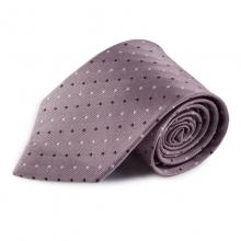 Růžová hedvábná kravata s tečkami