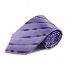 Fialová (šeříková) proužkovaná hedvábná kravata