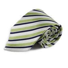 Zelená proužkovaná hedvábná kravata (bílá, černá)