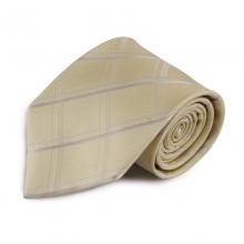 Béžová károvaná hedvábná kravata