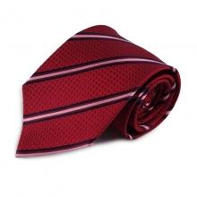 Červená hedvábná kravata s růžovým proužkem