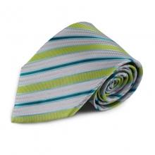 Stříbrná hedvábná kravata s proužky (zelená, modrá)