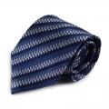 Modrá hedvábná kravata s atypickým proužkem (bílá)