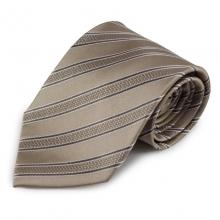Béžová pruhovaná hedvábná kravata