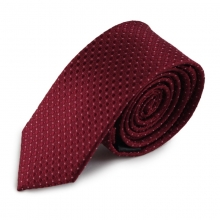 Bordó úzká hedvábná kravata s jemným vzorkem