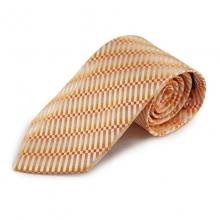 Oranžová mikrovláknová kravata s atypickým vzorem (bílá)