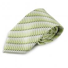 Zelená mikrovláknová kravata s atypickým vzorem (bílá)