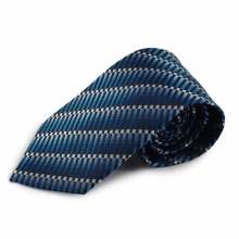 Modrá mikrovláknová kravata s atypickým vzorem (bílá)