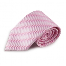 Růžová mikrovláknová kravata s atypickým vzorem (bílá)