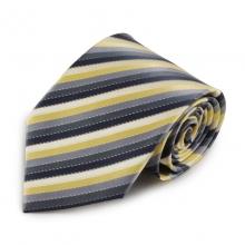 Proužkovaná mikrovláknová kravata (šedá, žlutá)