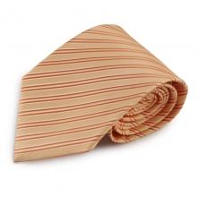 Oranžová (meruňková) proužkovaná mikrovláknová kravata