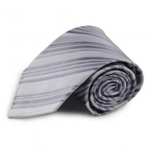 Stříbrná proužkovaná mikrovláknová kravata