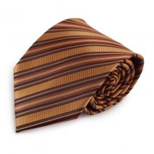 Hnědá (měděná) proužkovaná mikrovláknová kravata