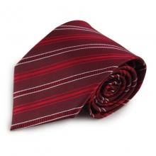 Červená proužkovaná mikrovláknová kravata