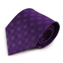 Fialová mikrovláknová kravata s károvaným vzorem
