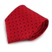 Červená mikrovláknová kravata s puntíkovaným vzorem
