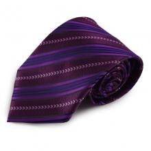 Fialová proužkovaná mikrovláknová kravata