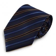 Modrá mikrovláknová kravata s proužky (oranžová)