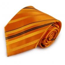 Oranžová mikrovláknová kravata s proužky